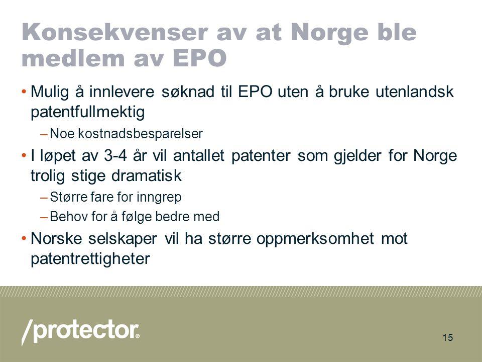 Konsekvenser av at Norge ble medlem av EPO