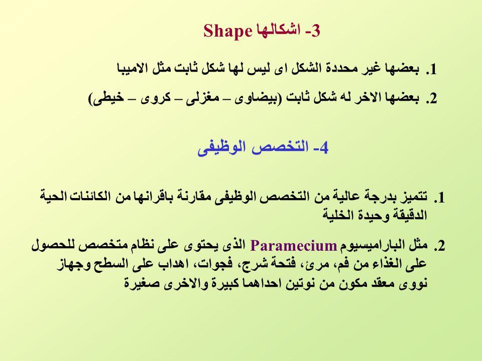 3- اشكالهاShape 4- التخصص الوظيفى