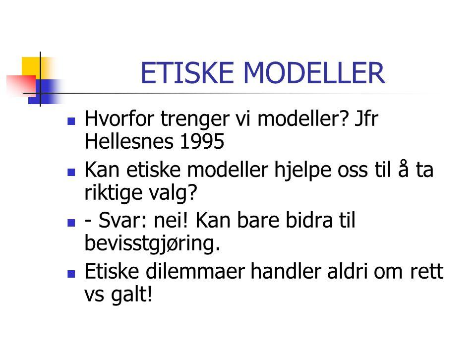 ETISKE MODELLER Hvorfor trenger vi modeller Jfr Hellesnes 1995