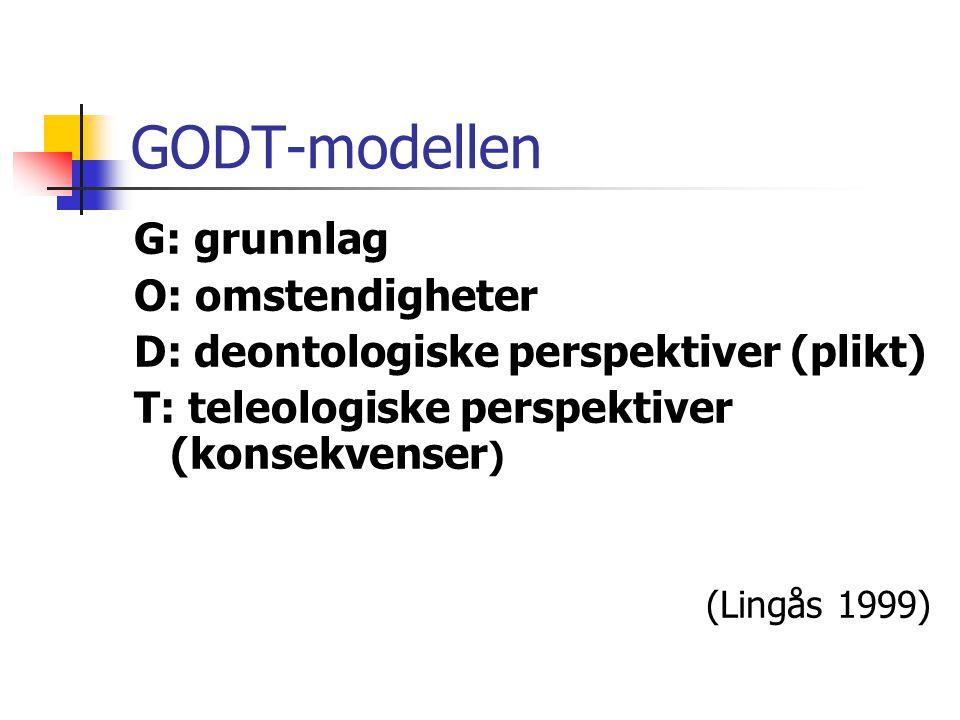 GODT-modellen G: grunnlag O: omstendigheter