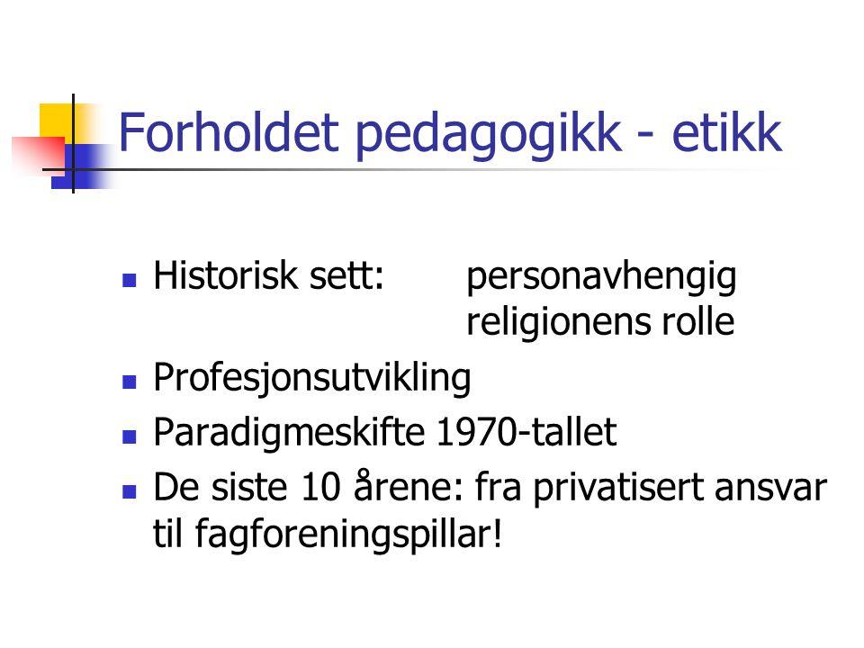 Forholdet pedagogikk - etikk