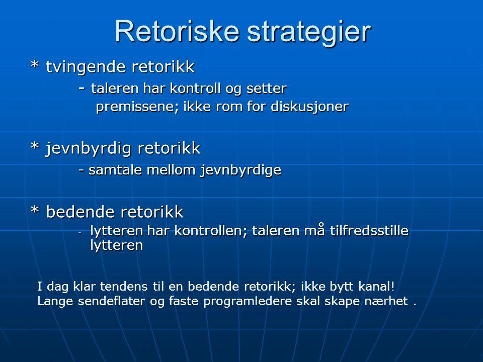 Retoriske strategier * tvingende retorikk