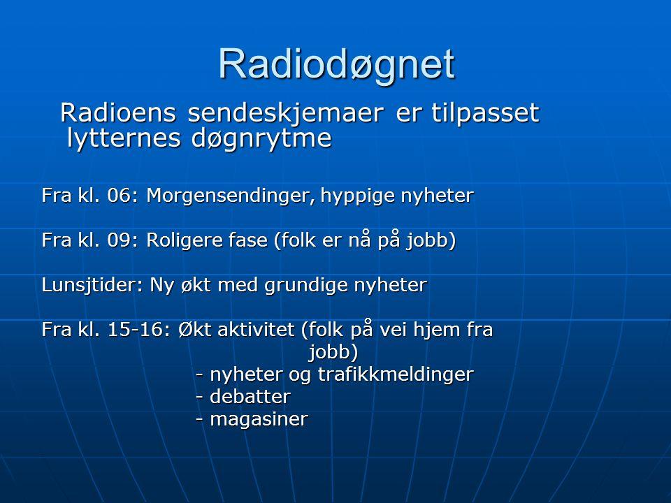 Radiodøgnet Radioens sendeskjemaer er tilpasset lytternes døgnrytme