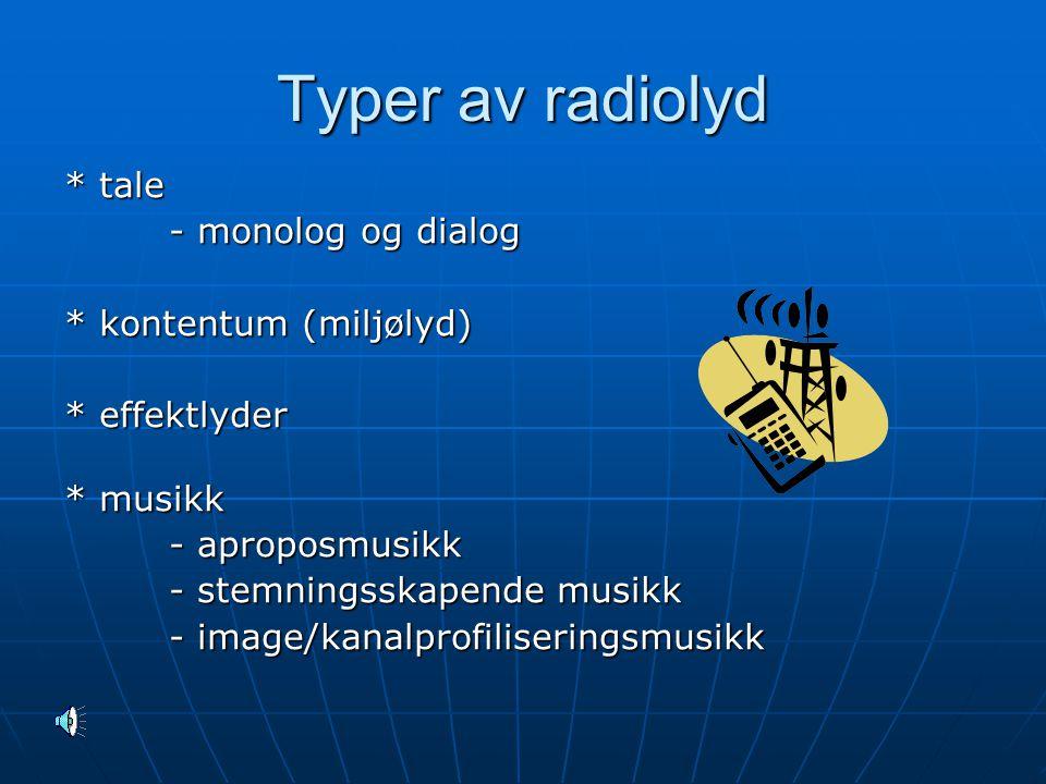 Typer av radiolyd * tale - monolog og dialog * kontentum (miljølyd)