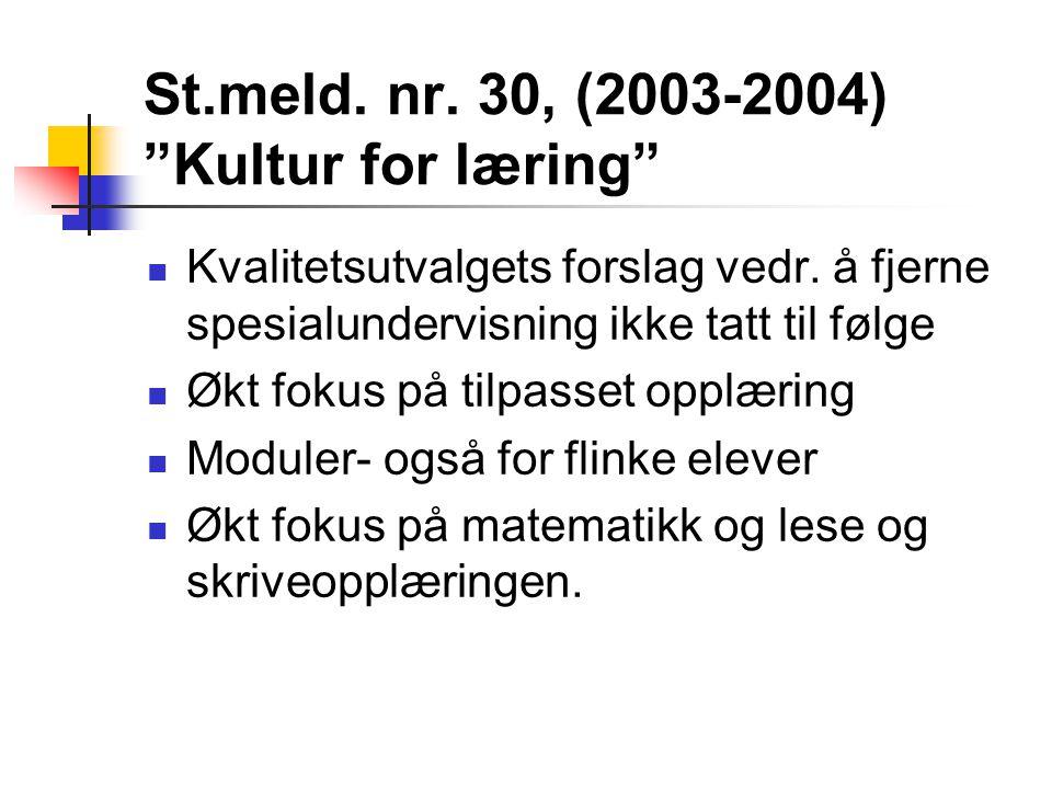 St.meld. nr. 30, (2003-2004) Kultur for læring