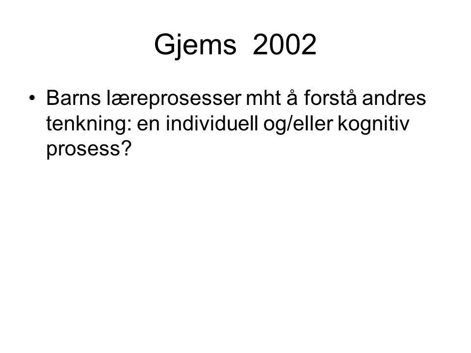 Gjems 2002 Barns læreprosesser mht å forstå andres tenkning: en individuell og/eller kognitiv prosess