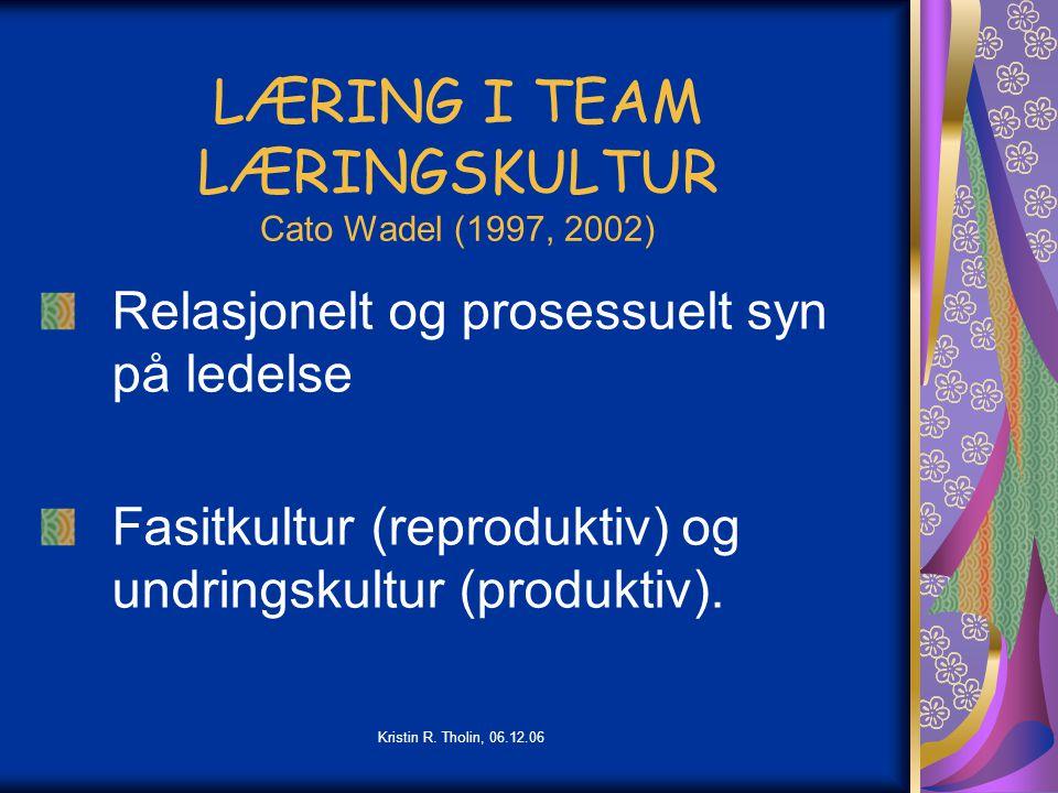 LÆRING I TEAM LÆRINGSKULTUR Cato Wadel (1997, 2002)