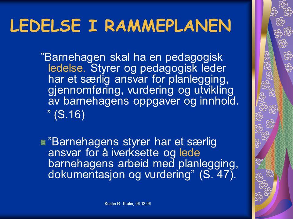 LEDELSE I RAMMEPLANEN