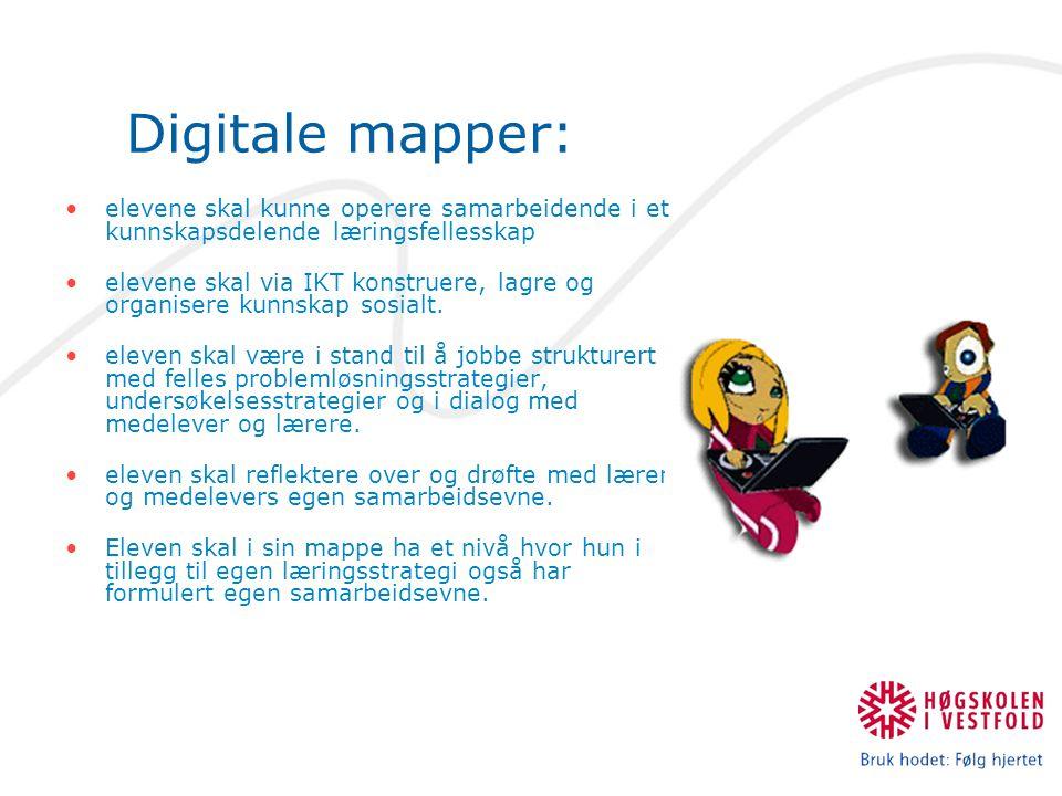 Digitale mapper: elevene skal kunne operere samarbeidende i et kunnskapsdelende læringsfellesskap.