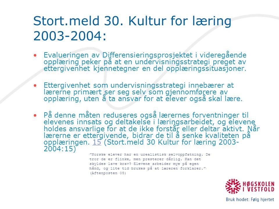 Stort.meld 30. Kultur for læring 2003-2004: