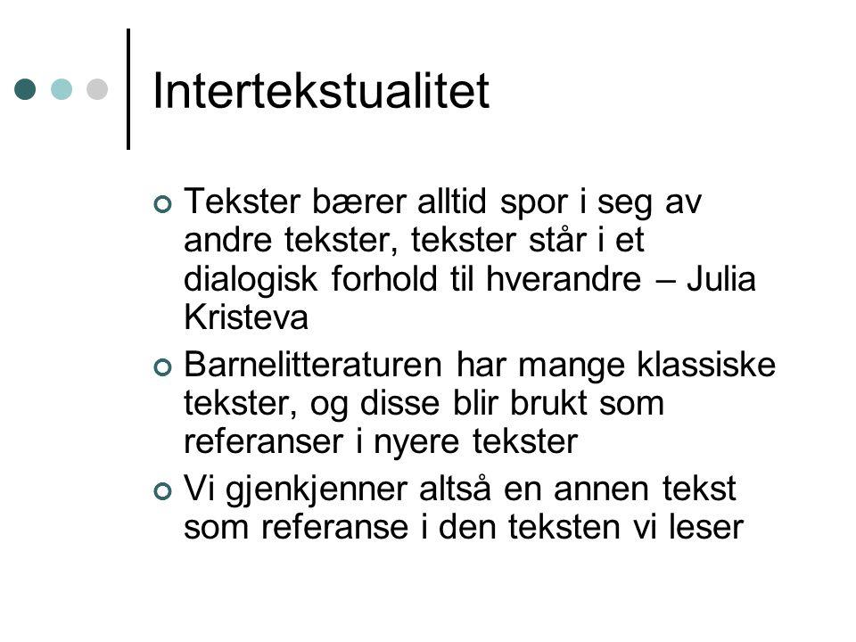 Intertekstualitet Tekster bærer alltid spor i seg av andre tekster, tekster står i et dialogisk forhold til hverandre – Julia Kristeva.