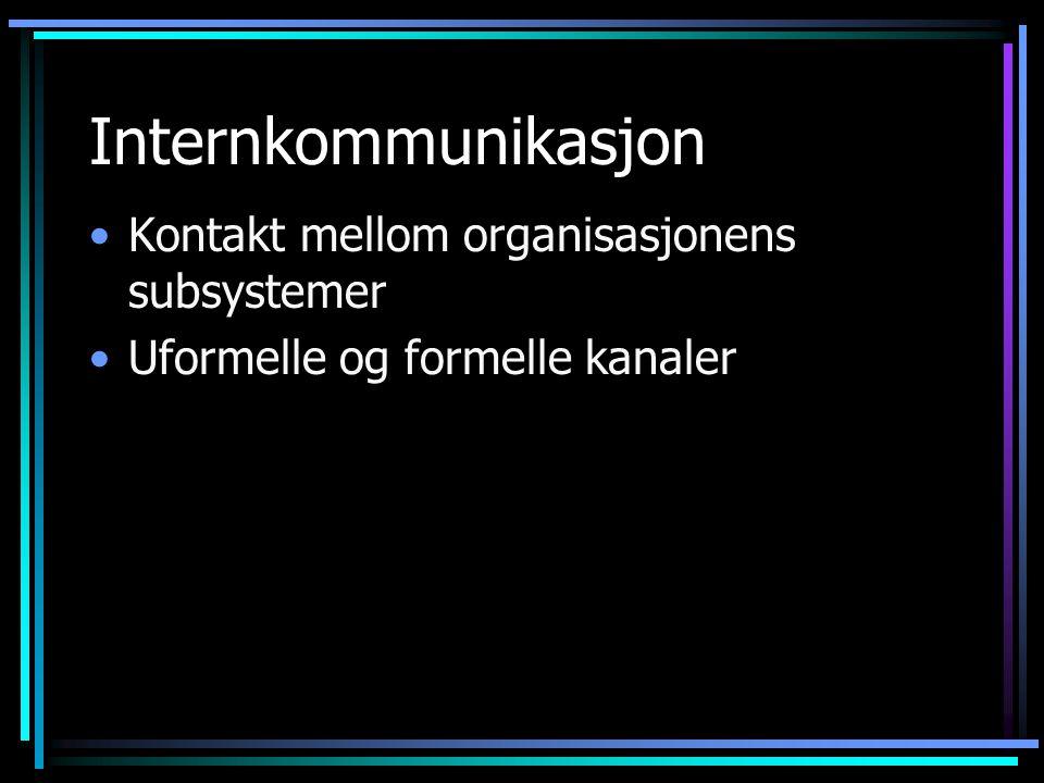 Internkommunikasjon Kontakt mellom organisasjonens subsystemer