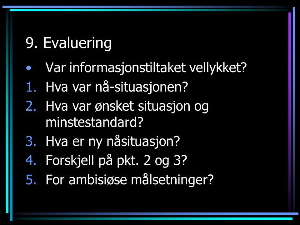 9. Evaluering Var informasjonstiltaket vellykket