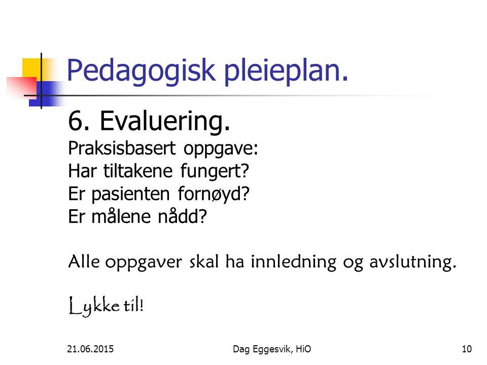Pedagogisk pleieplan. 6. Evaluering. Praksisbasert oppgave: