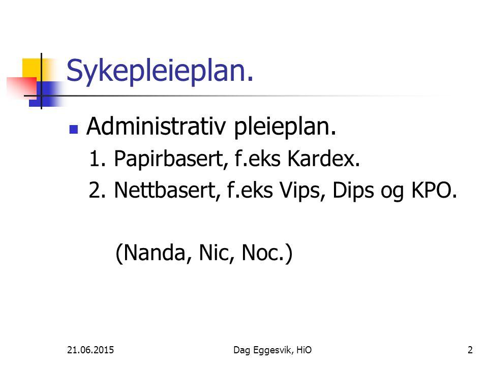 Sykepleieplan. Administrativ pleieplan. 1. Papirbasert, f.eks Kardex.