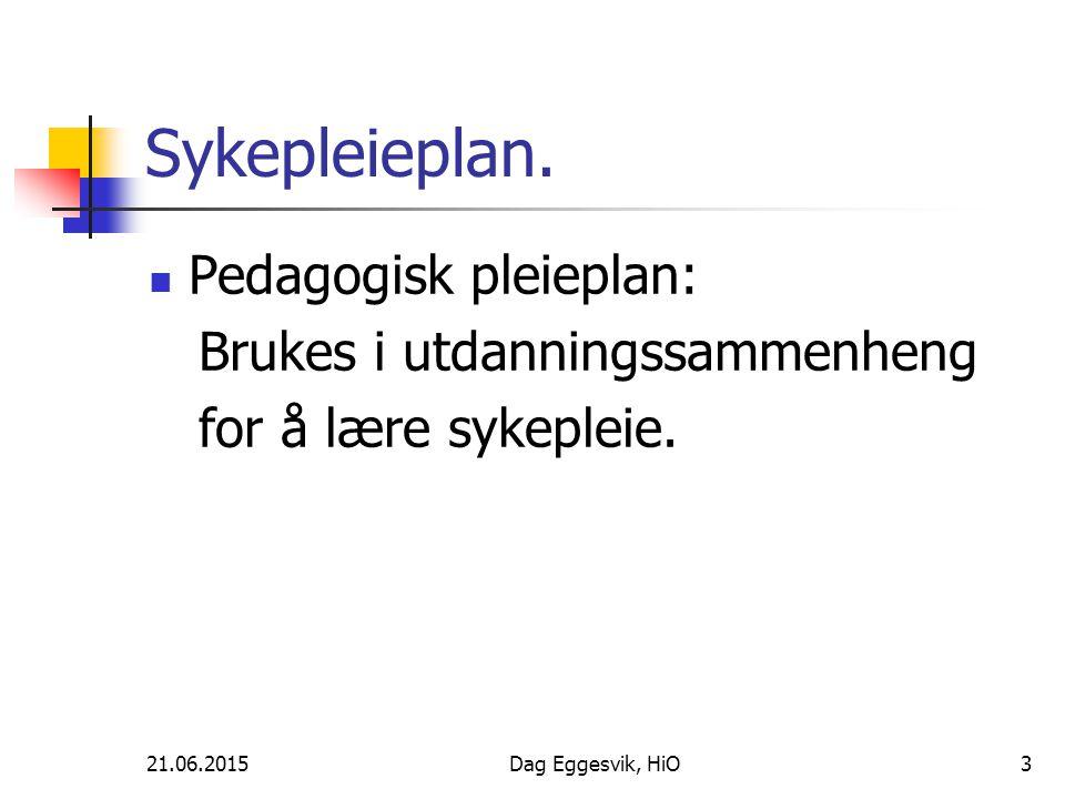 Sykepleieplan. Pedagogisk pleieplan: Brukes i utdanningssammenheng
