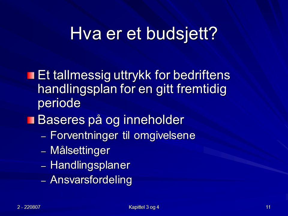 Hva er et budsjett Et tallmessig uttrykk for bedriftens handlingsplan for en gitt fremtidig periode.