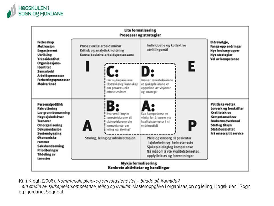 Kari Krogh (2006): Kommunale pleie- og omsorgstenester – budde på framtida