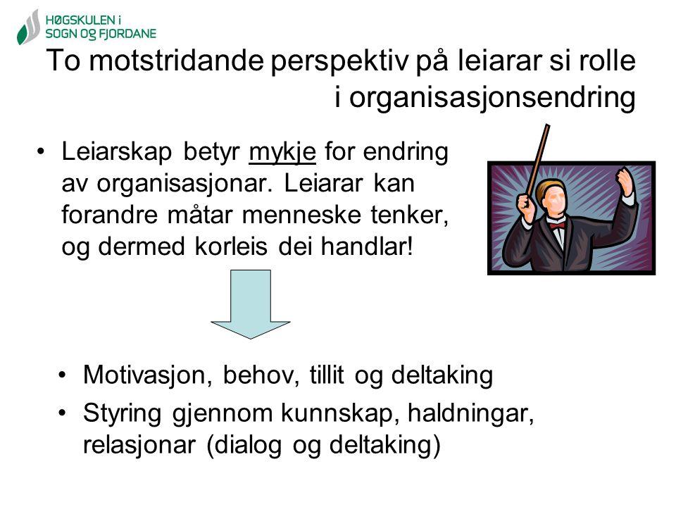 To motstridande perspektiv på leiarar si rolle i organisasjonsendring