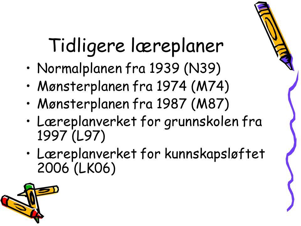 Tidligere læreplaner Normalplanen fra 1939 (N39)