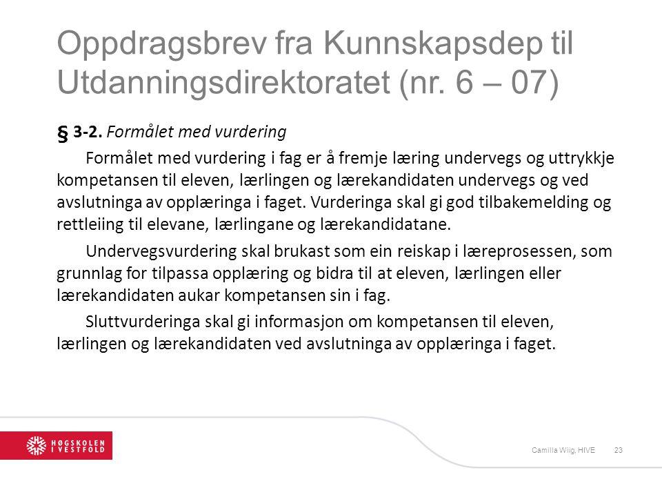 Oppdragsbrev fra Kunnskapsdep til Utdanningsdirektoratet (nr. 6 – 07)