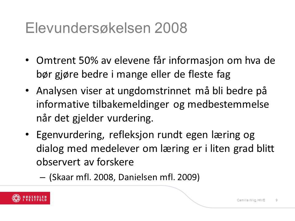 Elevundersøkelsen 2008 Omtrent 50% av elevene får informasjon om hva de bør gjøre bedre i mange eller de fleste fag.