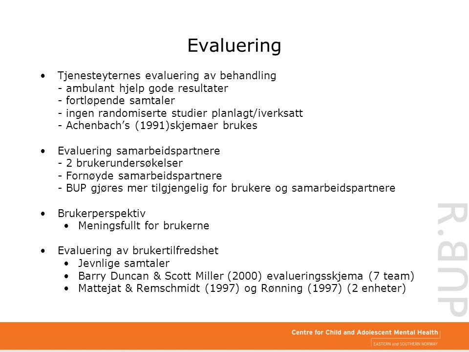 Evaluering Tjenesteyternes evaluering av behandling