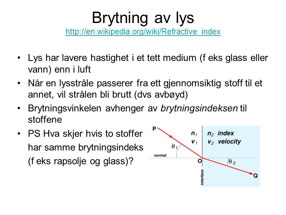 Brytning av lys http://en.wikipedia.org/wiki/Refractive_index