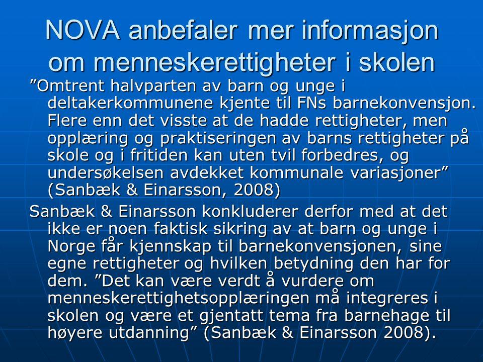 NOVA anbefaler mer informasjon om menneskerettigheter i skolen