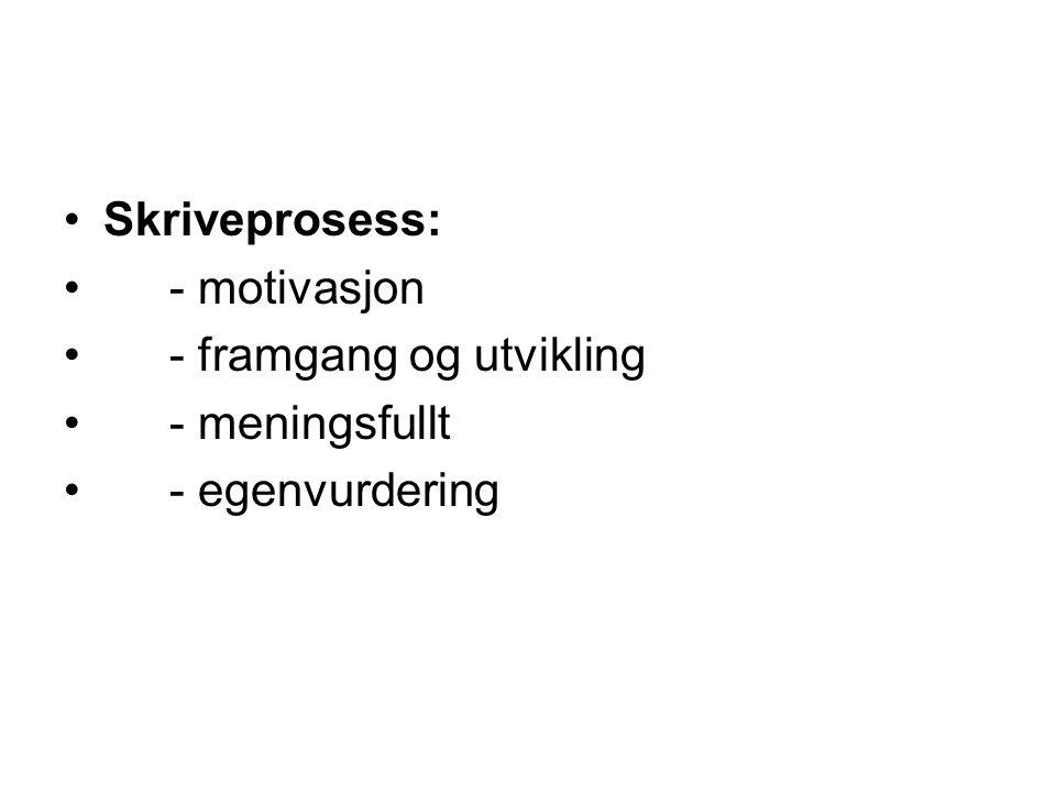 Skriveprosess: - motivasjon - framgang og utvikling - meningsfullt - egenvurdering