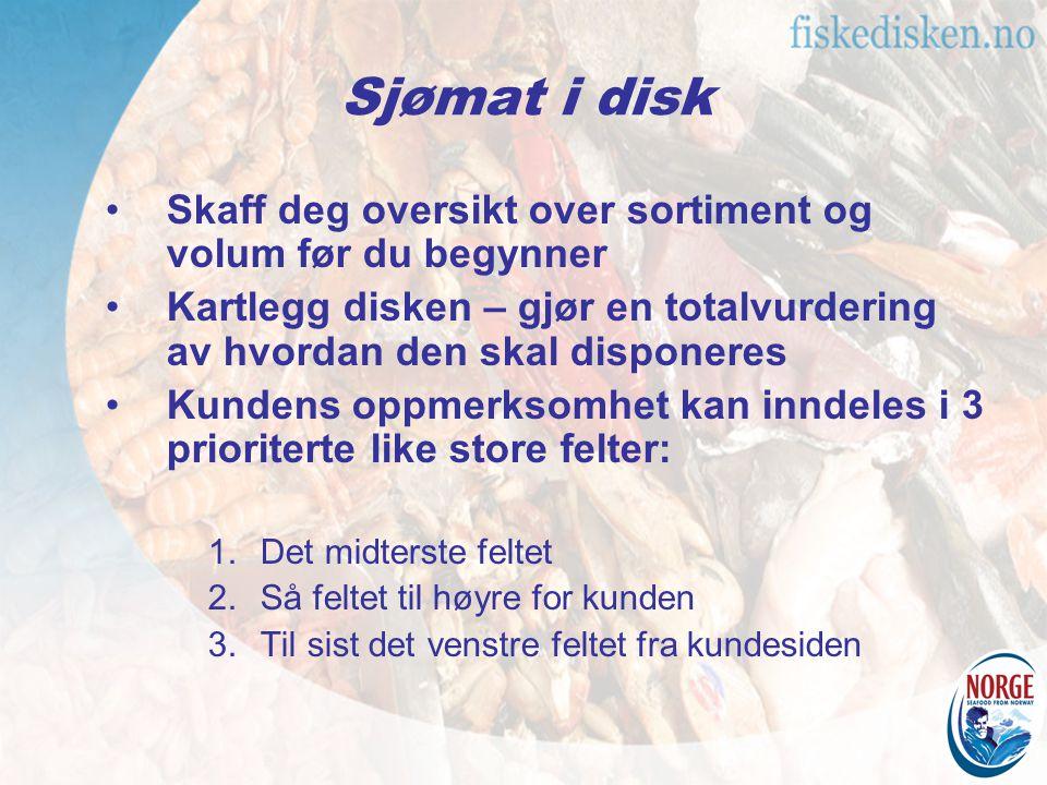 Sjømat i disk Skaff deg oversikt over sortiment og volum før du begynner. Kartlegg disken – gjør en totalvurdering av hvordan den skal disponeres.