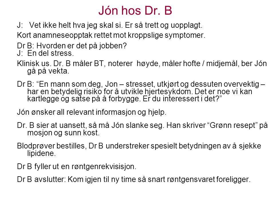 Jón hos Dr. B J: Vet ikke helt hva jeg skal si. Er så trett og uopplagt. Kort anamneseopptak rettet mot kroppslige symptomer.