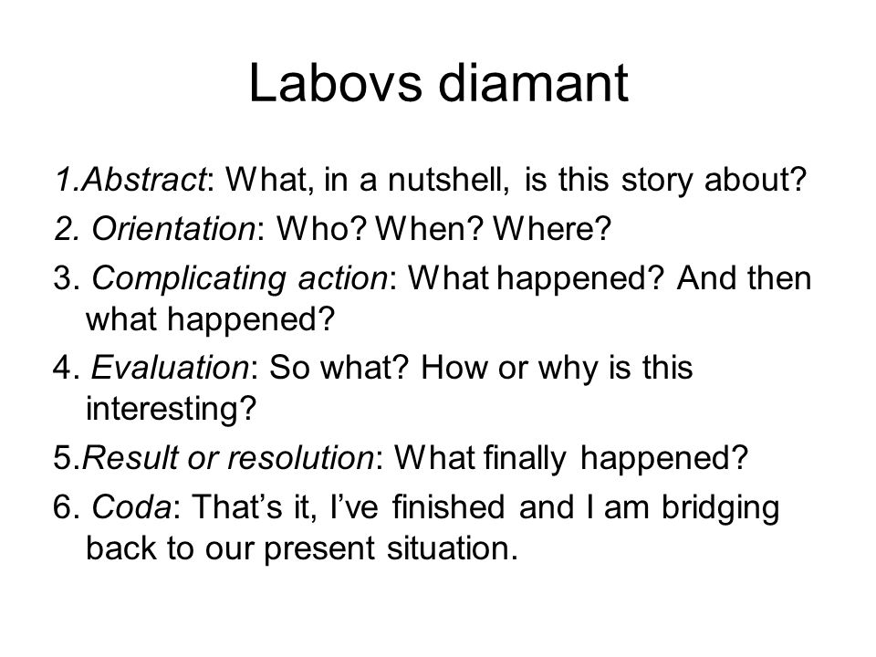 Labovs diamant 1.Abstract: What, in a nutshell, is this story about