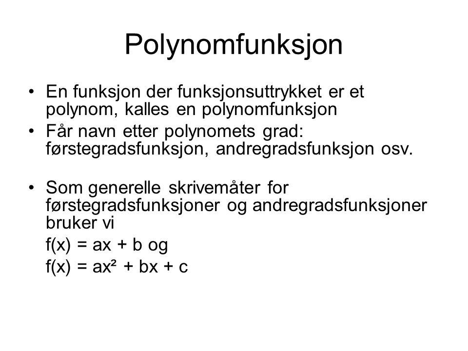 Polynomfunksjon En funksjon der funksjonsuttrykket er et polynom, kalles en polynomfunksjon.