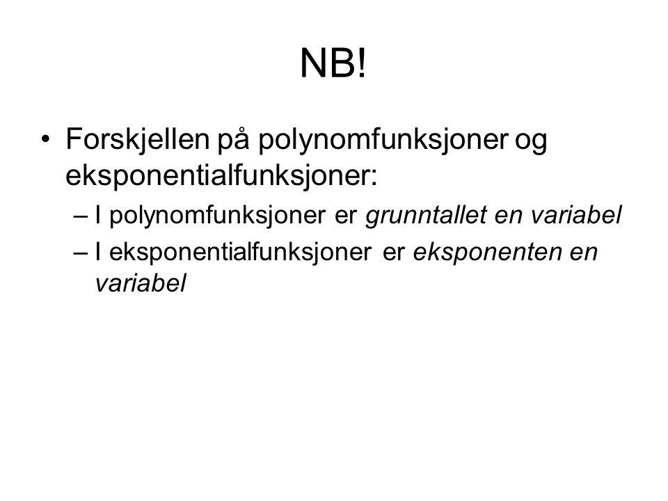 NB! Forskjellen på polynomfunksjoner og eksponentialfunksjoner: