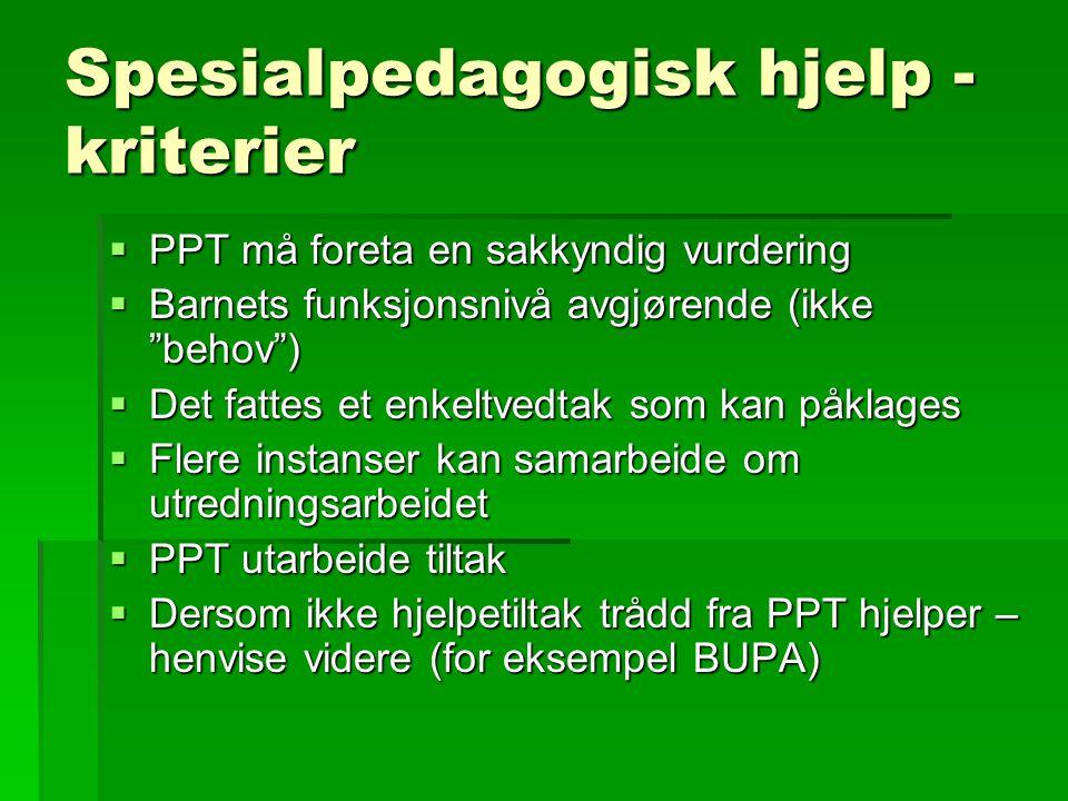 Spesialpedagogisk hjelp - kriterier