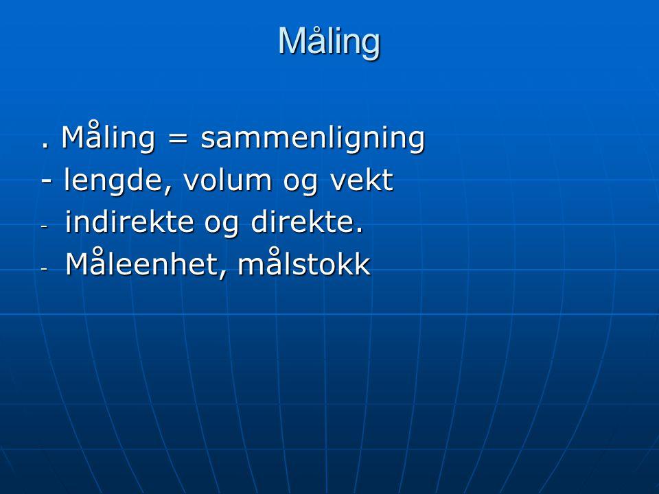 Måling . Måling = sammenligning - lengde, volum og vekt