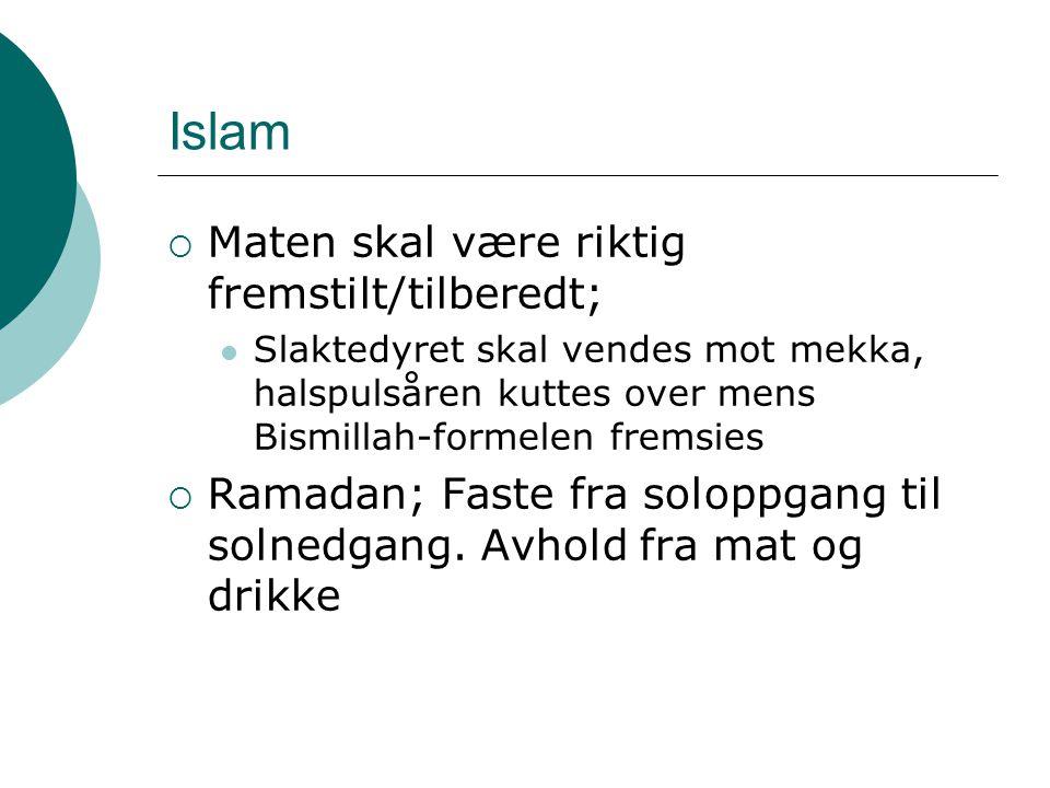 Islam Maten skal være riktig fremstilt/tilberedt;
