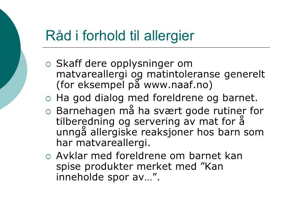 Råd i forhold til allergier