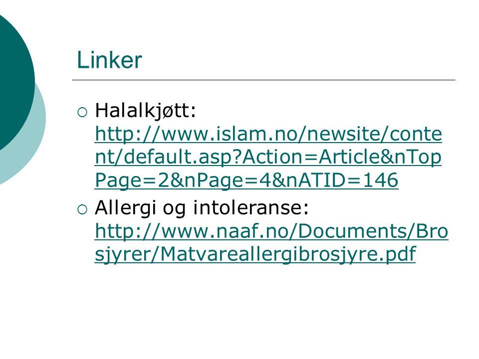 Linker Halalkjøtt: http://www.islam.no/newsite/content/default.asp Action=Article&nTopPage=2&nPage=4&nATID=146.