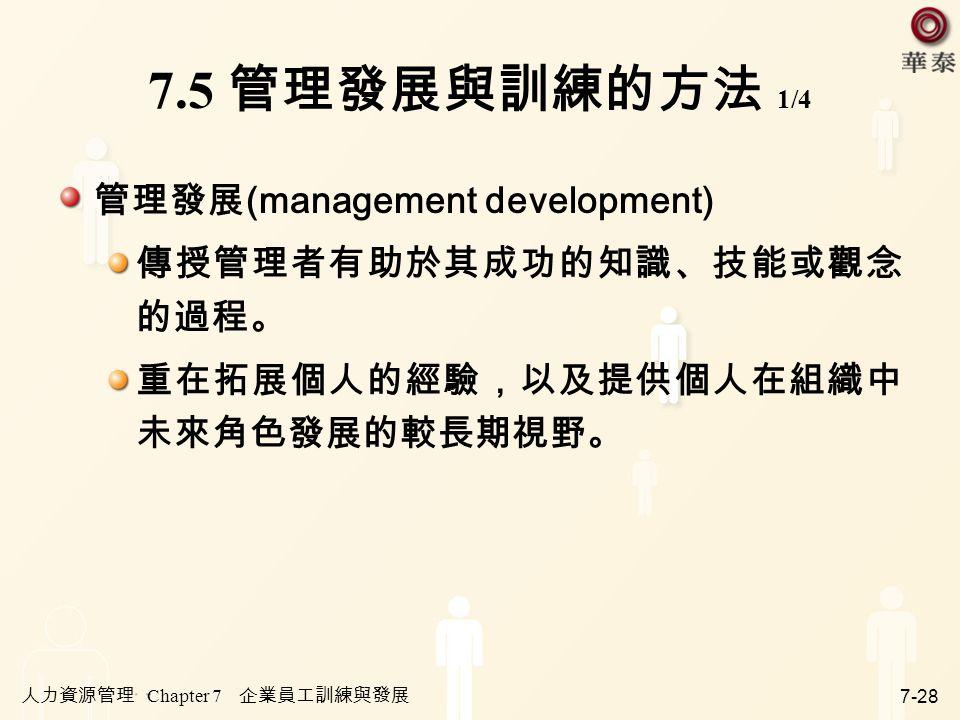 7.5 管理發展與訓練的方法 1/4 管理發展(management development)