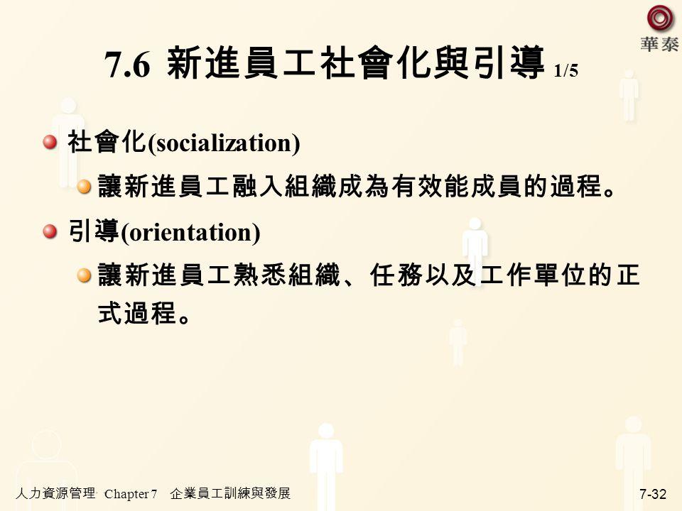 7.6 新進員工社會化與引導 1/5 社會化(socialization) 讓新進員工融入組織成為有效能成員的過程。