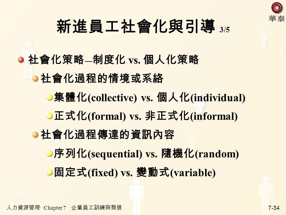 新進員工社會化與引導 3/5 社會化策略―制度化 vs. 個人化策略 社會化過程的情境或系絡