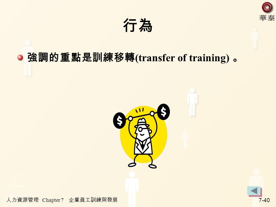 行為 強調的重點是訓練移轉(transfer of training) 。 人力資源管理 Chapter 7 企業員工訓練與發展