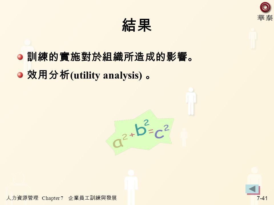 結果 訓練的實施對於組織所造成的影響。 效用分析(utility analysis) 。