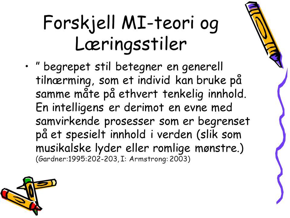 Forskjell MI-teori og Læringsstiler