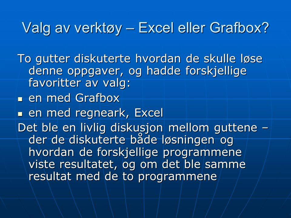 Valg av verktøy – Excel eller Grafbox