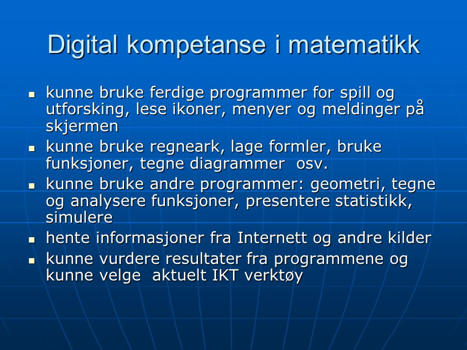 Digital kompetanse i matematikk