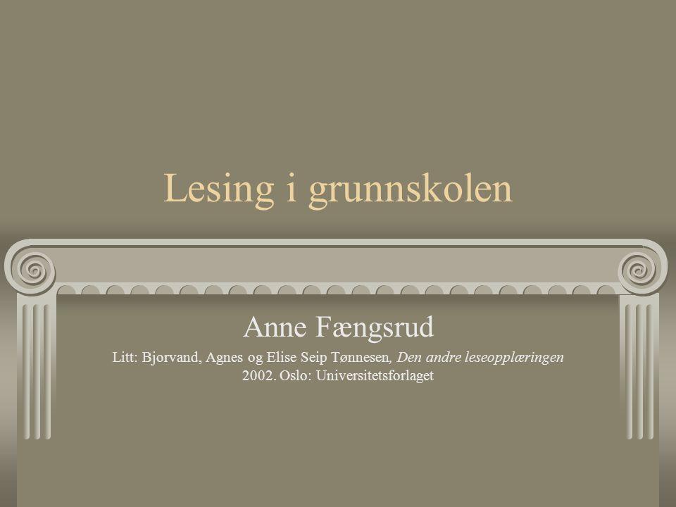 Lesing i grunnskolen Anne Fængsrud