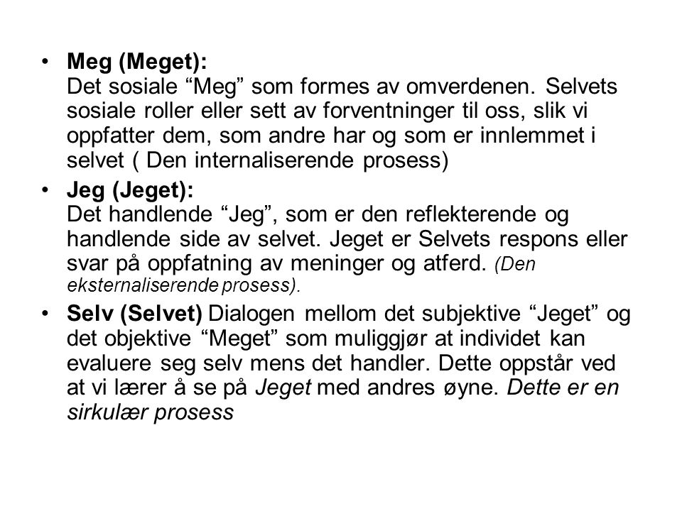Meg (Meget): Det sosiale Meg som formes av omverdenen